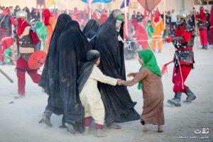 تعزیه ی روز عاشورا به زبان عربی در شهر بنک
