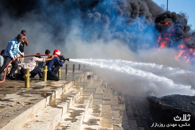 آتش سوزی اسکله دیر